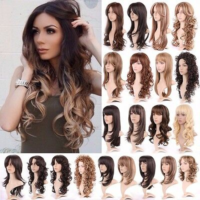 Full Women Fashion Black Brown Blonde Long Wigs Natural Curl Straight Wavy Wig #