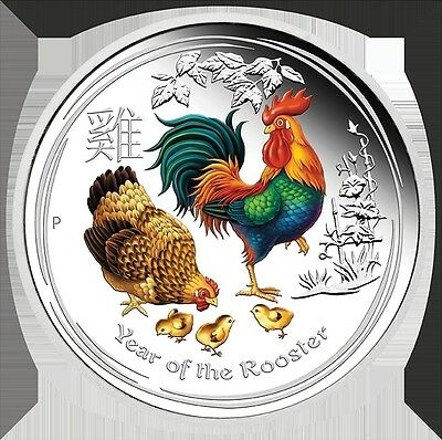 2017 Australian Lunar Year of the Roster1 oz Colour Silver Proof Coin Perth Mint