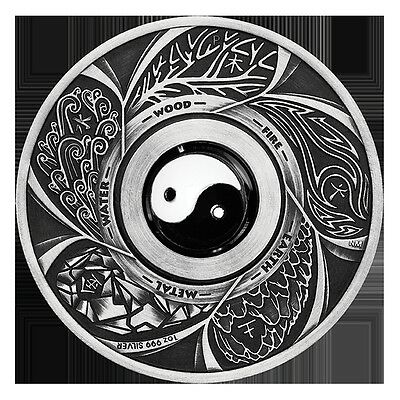 2016 $1 Tuvalu Yin Yang Rotating Charm - 1oz Silver Antique Coin - Perth Mint