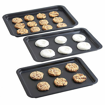 VonShef New Set of 3 Non Stick Baking Roasting Carbon Steel Oven Trays