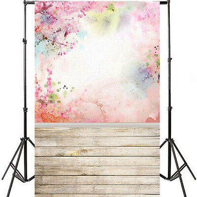 3x5ft Retro Wood Wall Flower Photo Backdrop Photography Studio Background Props