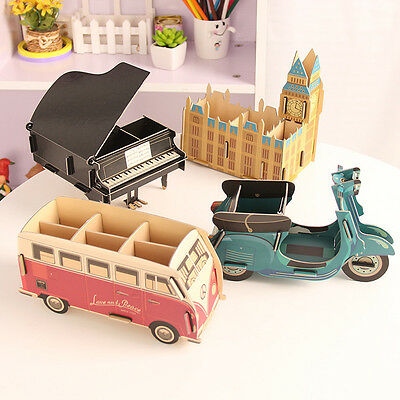 Desktop Stationery Pen Pencil Organizer Storage Box Big Ben Piano Bus Motor New