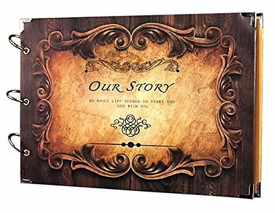 SiCoHome Scrapbook Album 13.6x9.4inch Our Story for Gifts,Photo Storage,Wedding