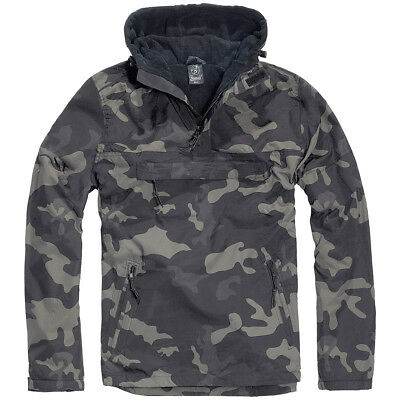 Brandit Military Windbreaker Warm Mens Anorak Hooded Tactical Jacket Dark Camo