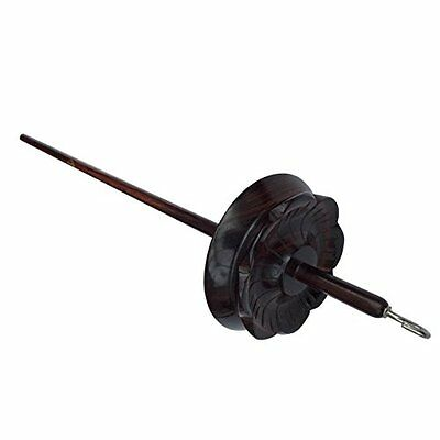 Mindfulness Drop Spindle - Hand made Indian rosewood in lotus flower design for