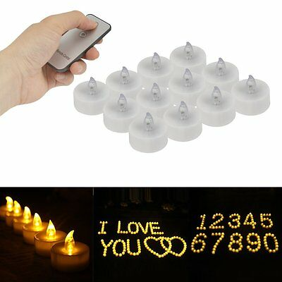 12 Flameless Votive Candles Battery Flickering LED Tea Light with Remote Control