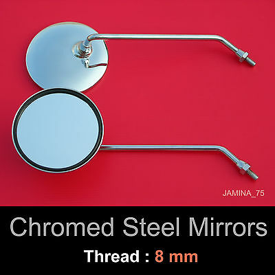 Suzuki GT380 GT500 GT550 GT750 GT 8mm Chrome Steel Metal Mirror Round Pair