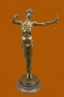 Bronze Sculpture Sign~Mercie~Nude Roman Archer Statue Figurine Figure
