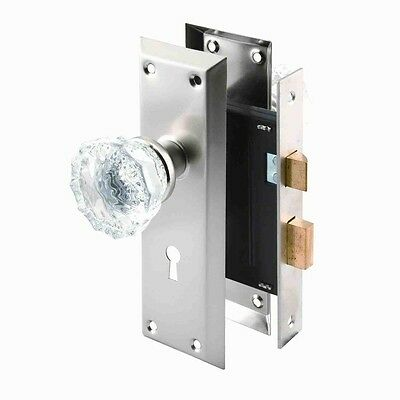 Prime-Line Single Cylinder Satin Nickel Mortise Lock Set With Glass Door Knobs