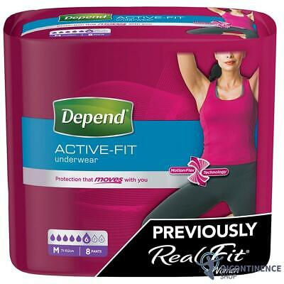 Depend Womans Incontinence Pants Real Fit Premium Medium - Pack of 8