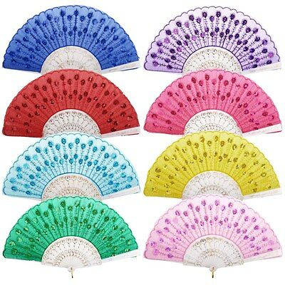 Wedding Decor Vintage Embroidered Folding Sequins Hand Fan Lace Flower Party Fan