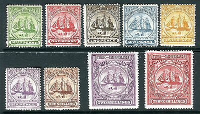 TURKS & CAICOS-1900-4  A mounted mint set to 3/- Sg 101-9