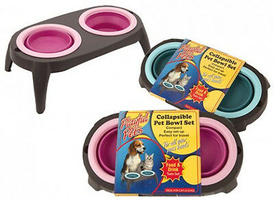 Collapsible Pet Bowl Set Dogs Cats Feeding Twin Set Food Drink Water Kitten