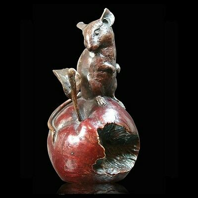 Mouse on Apple Solid Bronze Foundry Cast Sculpture by Michael Simpson (921)