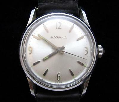 Signal Swiss Made Men's Vintage Wristwatch*stainless*black Leather Strap*428D