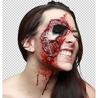 Prosthetic Wounds Closer Look Face Halloween Fancy Dress