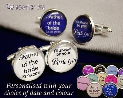 Personalised Cufflinks For Father of the Bride from Daughter Wedding Day Gift