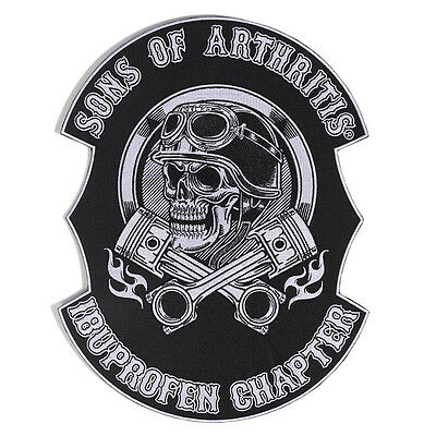 """Sons of Arthritis Authentic 10"""" X 13"""" Helmet Head Biker Embroidered Patch"""