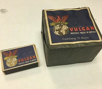 LOT OF 10 Boxes Vintage VULCAN Matchbox  Safety Matches NEW
