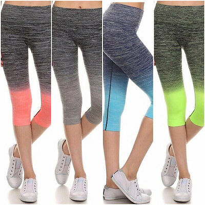 Capri Cropped 2 Tones Womens Leggings for Yoga Gym Athletic Workout Wear