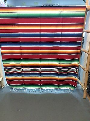 Serape XXL,5' X 7',Mexican Blanket,HOT ROD, Covers,Motorcycle, RED mixed,