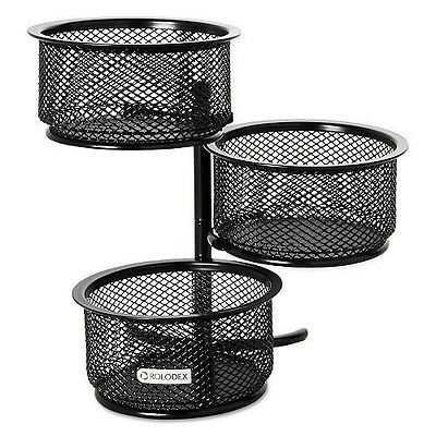 Rolodex - 3 Tier Wire Mesh Swivel Tower Paper Clip Holder, Black