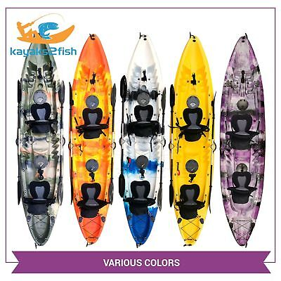 Double Fishing Kayak | Twin Kayak with 6 Rod Holders, 2 Paddles & Padded Seats