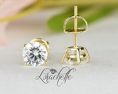 2.0 ct Brilliant Round Cut Screw Back Earring Studs Real Solid 14K Yellow Gold