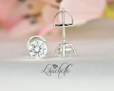 1.0 ct Brilliant Round Cut Screw Back Earring Studs Real Solid 14K White Gold
