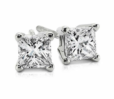 1.0 ct Princess Cut Solitaire Stud Earrings Real Solid 14k White Gold Screw Back