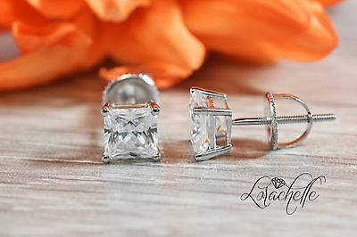 3.0 ct Princess Cut Solitaire Stud Earrings Real Solid 14k White Gold Screw Back