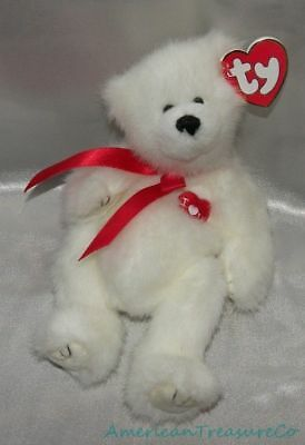 "New 1993 TY ATTIC Plush Snowy White Jointed Tubby 9"" AMORE The LOVE BEAR w/Bow"