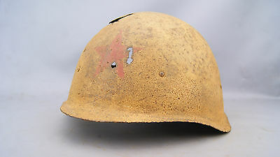 Original Ww2 Russian Ssh40 Winter Camo Helmet With Red Star On Front