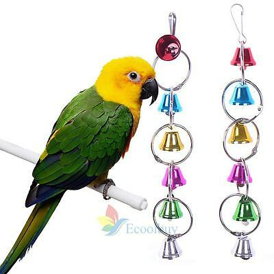 Colorful Ring Hanging Chew Bell Cage Playing Pet Parrot Bird Parakeet Toy #A