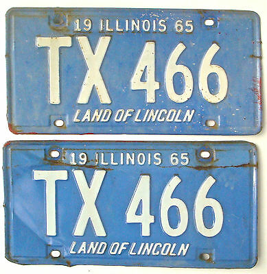 Illinois 1965 Pair Vintage License Plate Garage Old Truck Car Auto Tags Blue YOM