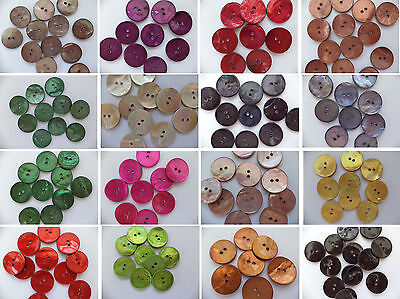Pack of 5 - Akoya Shell Buttons - 16 Colours available