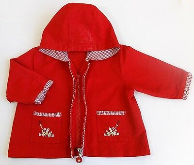 Baby girl red jacket coat hooded 6-12 month