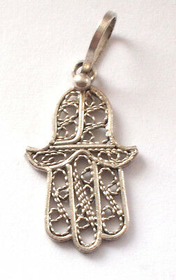 Solid Ornate 925 Sterling Hamsa Hand Pendant  Hippy Boho