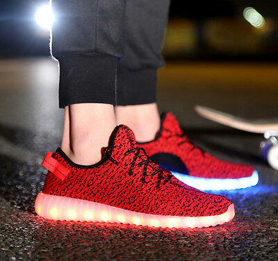 Free Striped Unisex LED Light Lace Up Luminous Shoes Sportswear Sneaker Casual