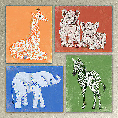Baby African Safari Animals nursery wall art/infant decor elephant giraffe zebra