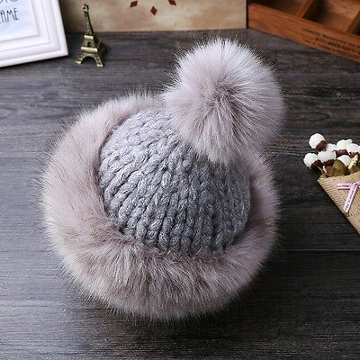 Women Ladies Faux Fur Hat Cap Knitted Beanie Ball Cossack Russian Style Winter