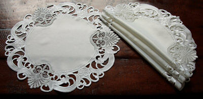 Xia Home Fashions Delicate Lace Embroidered Cutwork Doilie Set of 4