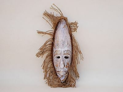 Unusual Wooden Hand Carved Mask African Congo Tribal Ethnic White Wash 30cm