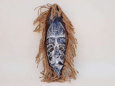 Unusual Wooden Hand Carved Mask African Congo Tribal Ethnic Black Wash 30cm