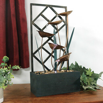 Unique Trellis Metal Tabletop Indoor Water Fountain Stones LEDs Wandering Leaves