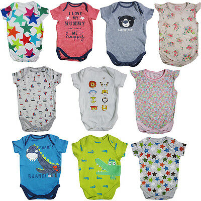 "Baby Boys Girls ""ex Store"" Vests Short Sleeve/long Sleeve Bodysuit"