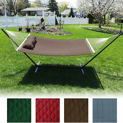 2-Person Hammock w/Spreader Bars & Pillow, Quilted Design Double Fabric -Options