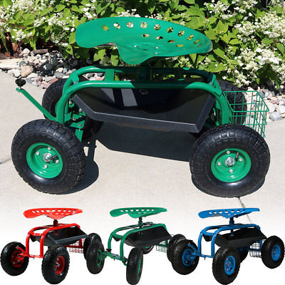 Rolling Garden Cart w/ Steering Handle, Swivel Seat & Basket - Color Choices