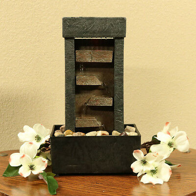 Tiered Shelves Tabletop Water Feature, Uniquely Lit Step-Style Indoor Fountain