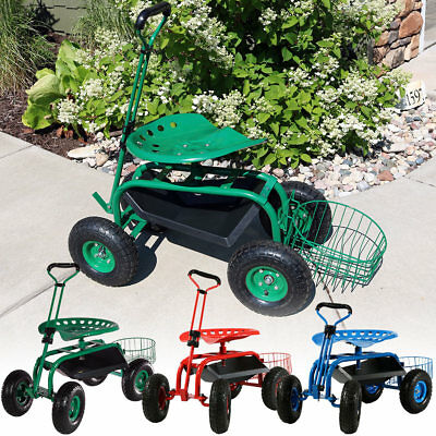 Sunnydaze Rolling Garden Cart w/ Extendable Handle Pneumatic - Multiple Colors